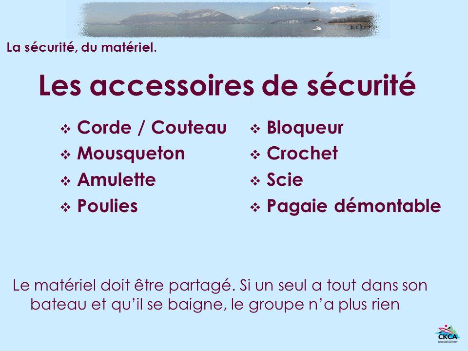 Les accessoires de sécurité Corde / Couteau Mousqueton Amulette Poulies Bloqueur Crochet Scie Pagaie démontable Le matériel doit être partagé. Si un s