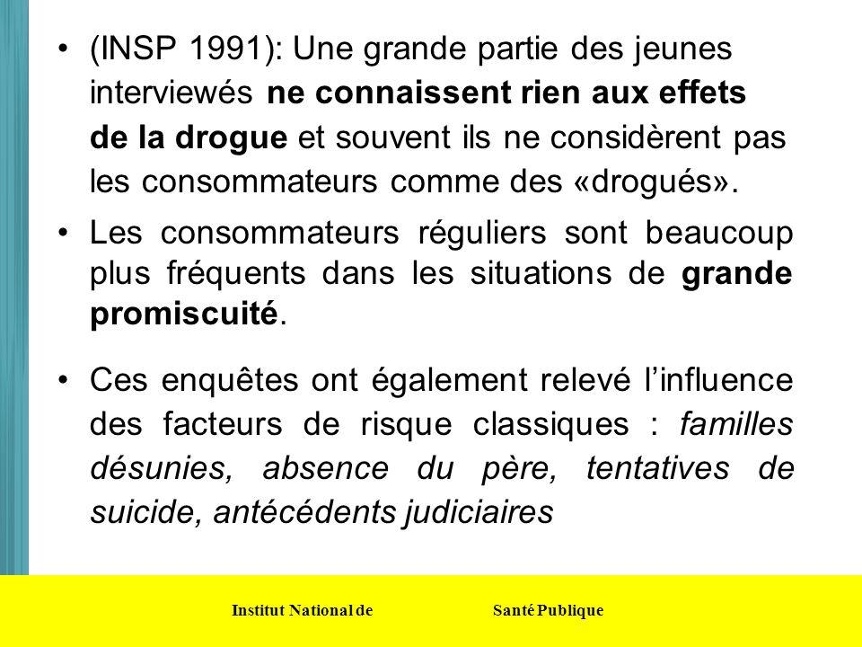 Institut National de Santé Publique (INSP 1991): Une grande partie des jeunes interviewés ne connaissent rien aux effets de la drogue et souvent ils n