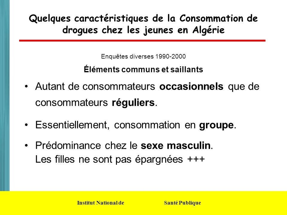 Institut National de Santé Publique Quelques caractéristiques de la Consommation de drogues chez les jeunes en Algérie Enquêtes diverses 1990-2000 Élé