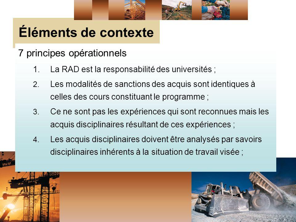 Éléments de contexte 7 principes opérationnels 1.La RAD est la responsabilité des universités ; 2.