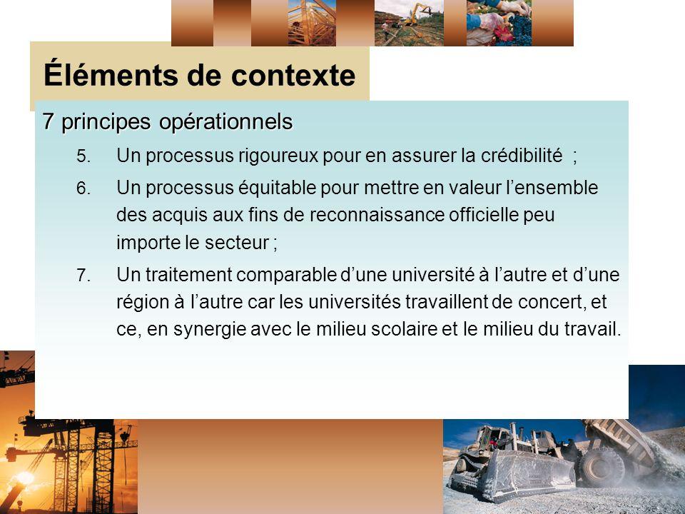 Éléments de contexte 7 principes opérationnels 5.