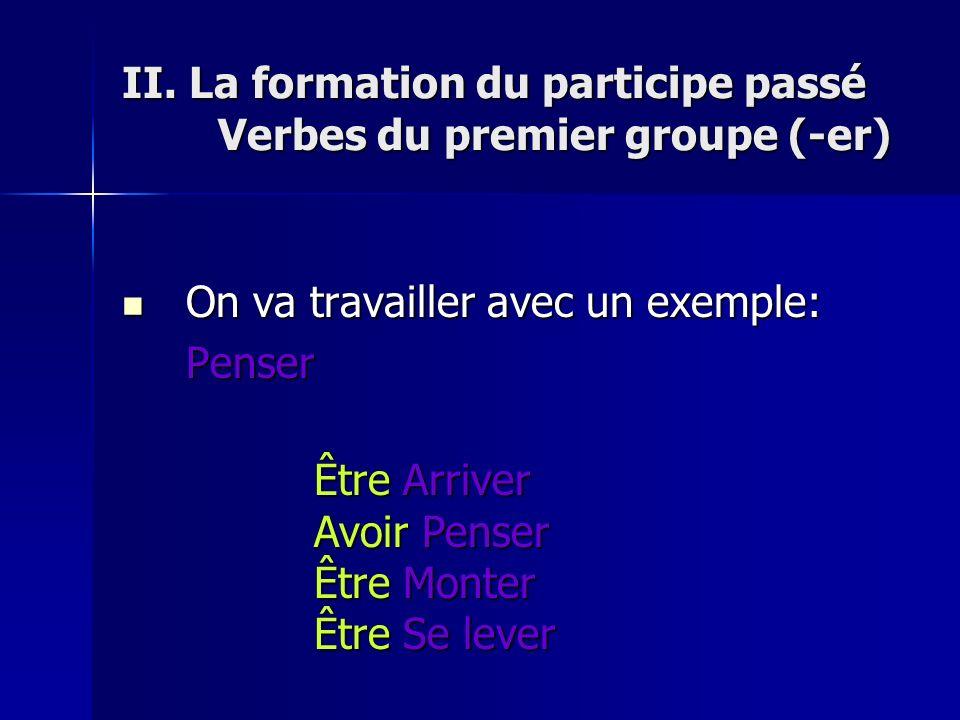 CORRIGÉS DES EXERCICES Partie I I.1. Arriver 2. Penser 3.