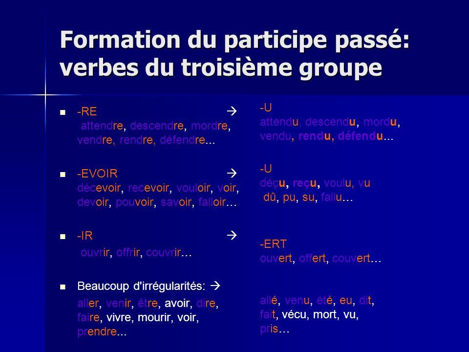 IV. La formation du participe passé Verbes du troisième groupe (-re + les irréguliers) Il ny a pas de règle général pour la formation du participe pas