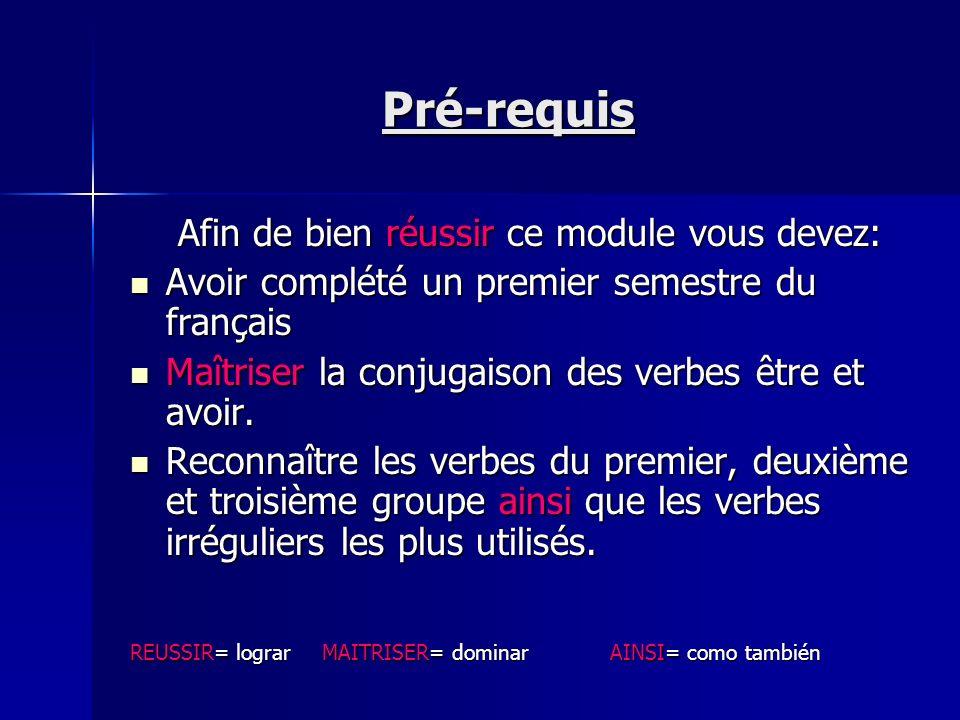 Pré-requis Afin de bien réussir ce module vous devez: Avoir complété un premier semestre du français Maîtriser la conjugaison des verbes être et avoir.