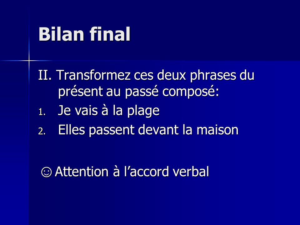 Bilan final I.