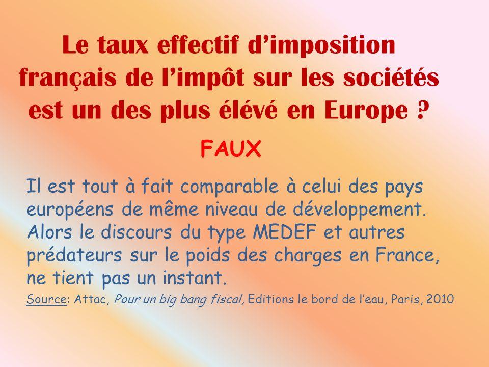 Le taux effectif dimposition français de limpôt sur les sociétés est un des plus élévé en Europe .