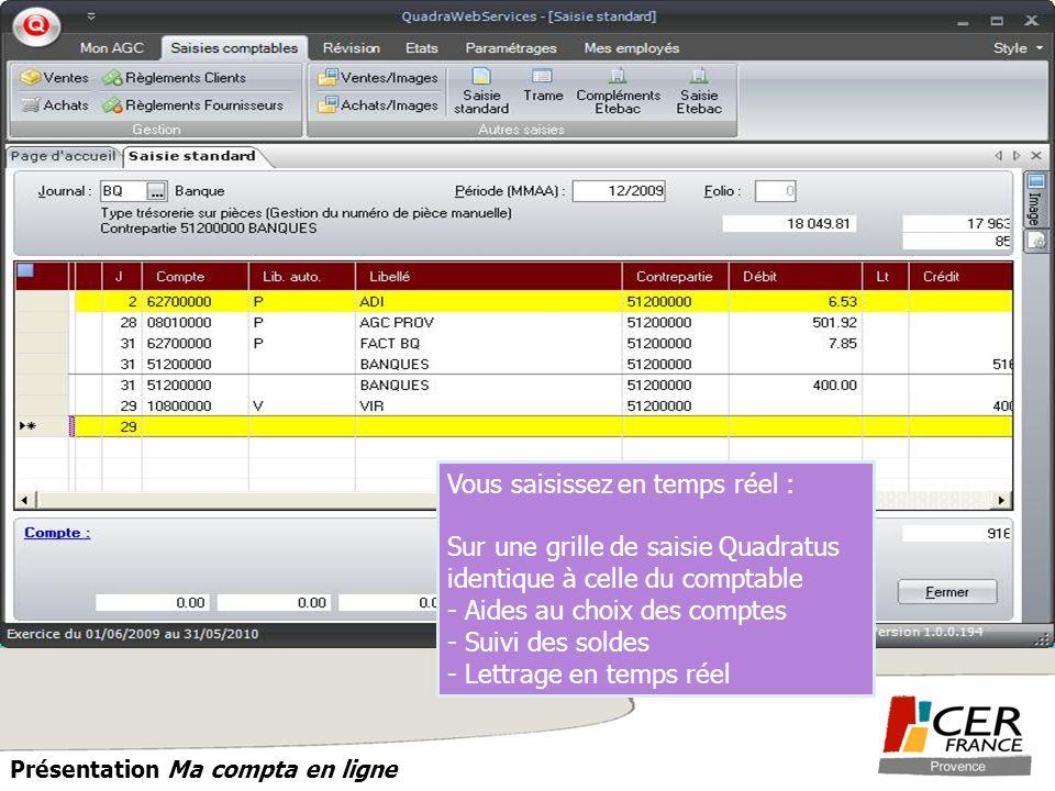 PROVENCE Présentation Ma compta en ligne Vous saisissez en temps réel : Sur une grille de saisie Quadratus identique à celle du comptable - Aides au c