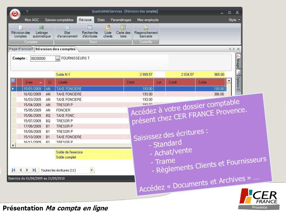 PROVENCE Présentation Ma compta en ligne Accédez à votre dossier comptable présent chez CER FRANCE Provence. Saisissez des écritures : - Standard - Ac