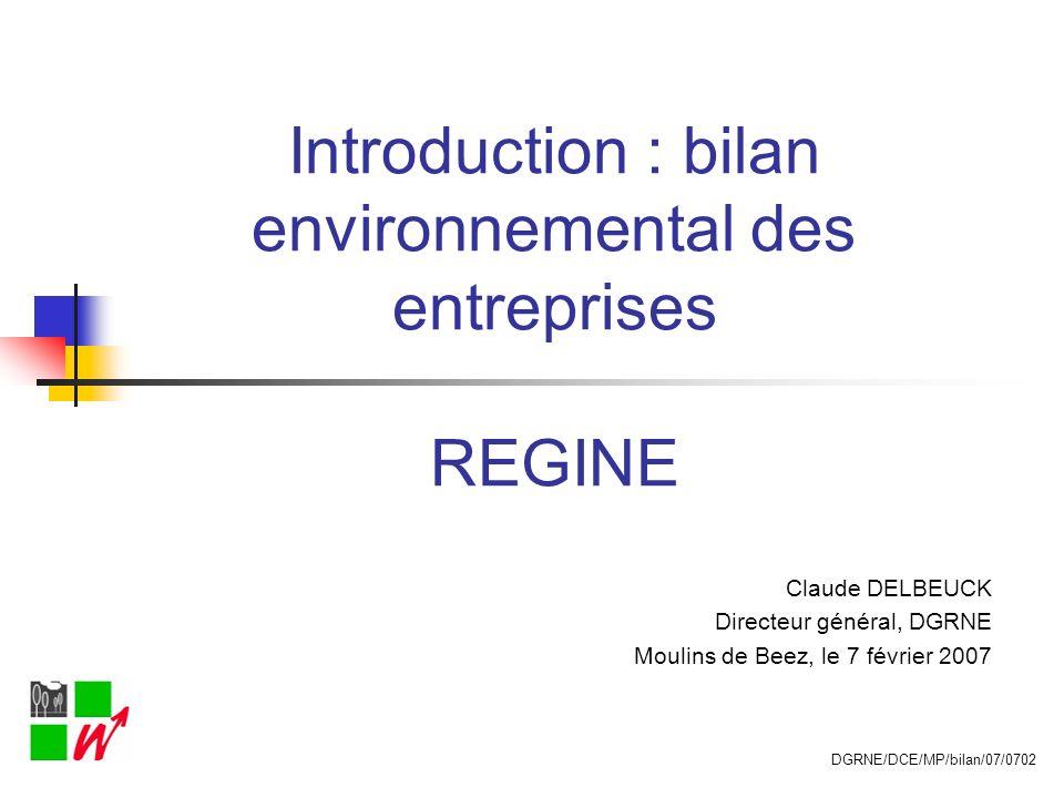 Introduction : bilan environnemental des entreprises REGINE Claude DELBEUCK Directeur général, DGRNE Moulins de Beez, le 7 février 2007 DGRNE/DCE/MP/b