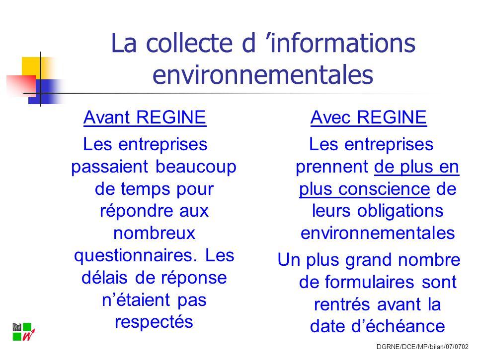 La collecte d informations environnementales Avant REGINE Les entreprises passaient beaucoup de temps pour répondre aux nombreux questionnaires. Les d