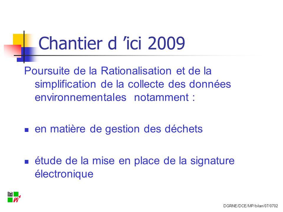 Chantier d ici 2009 Poursuite de la Rationalisation et de la simplification de la collecte des données environnementales notamment : en matière de ges