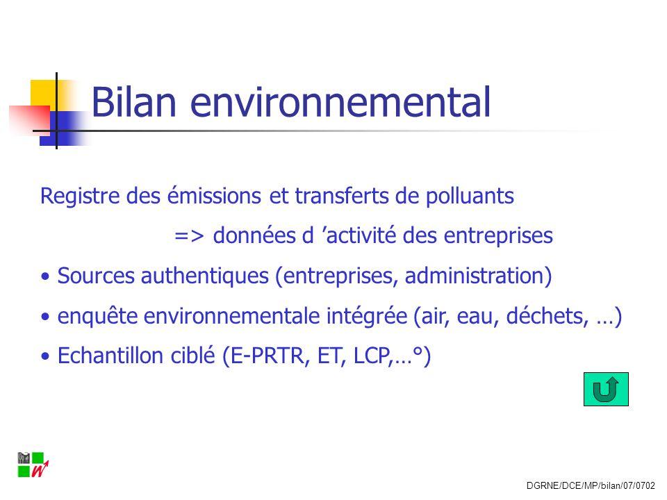 Bilan environnemental Registre des émissions et transferts de polluants => données d activité des entreprises Sources authentiques (entreprises, admin