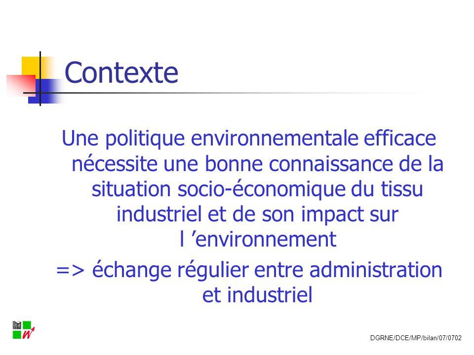 Contexte Une politique environnementale efficace nécessite une bonne connaissance de la situation socio-économique du tissu industriel et de son impac