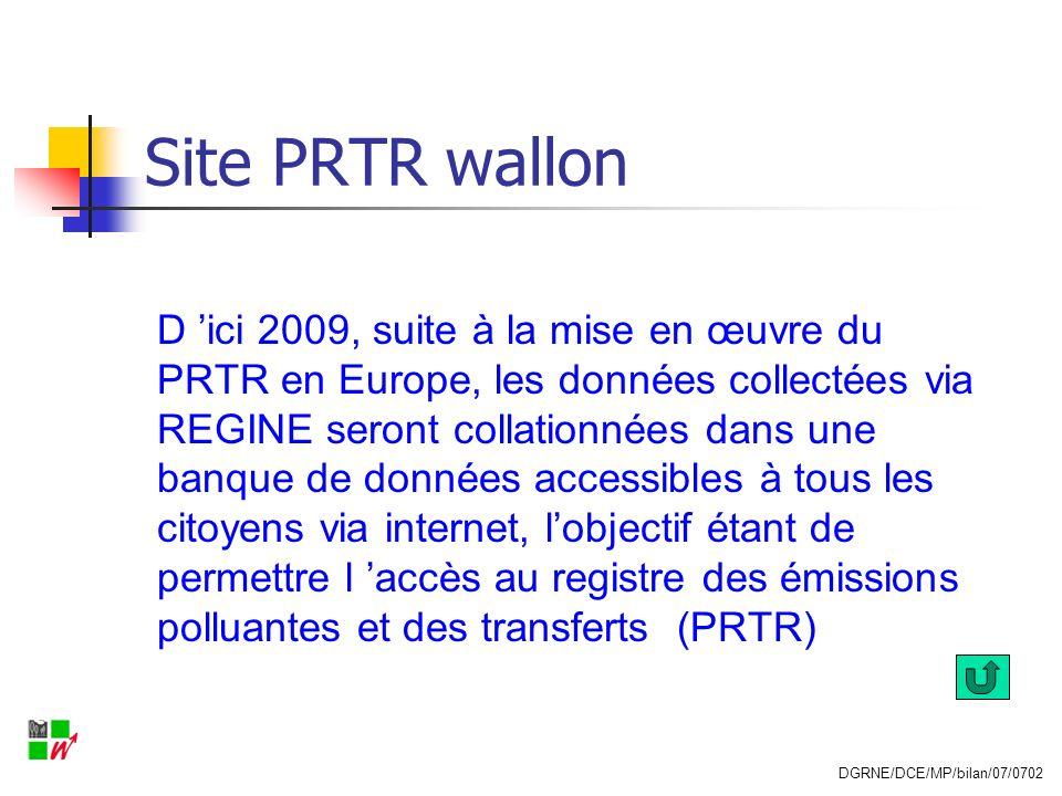 Site PRTR wallon D ici 2009, suite à la mise en œuvre du PRTR en Europe, les données collectées via REGINE seront collationnées dans une banque de don