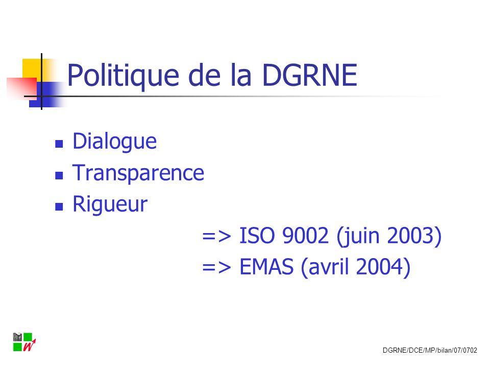 Initiative de la DGRNE Surveillance et rapportage plus simple et plus efficient en Wallonie REGINE (Référentiel Environnemental: Gestion Intégrée des Entreprises) 2003-2009 DGRNE/DCE/MP/bilan/07/0702