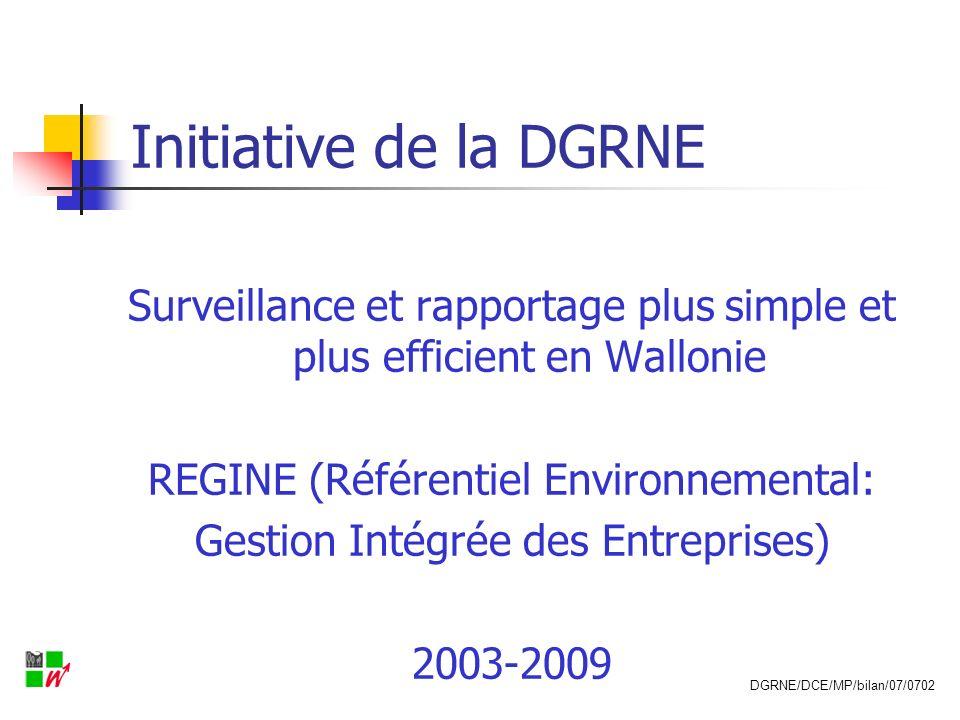Chantier d ici 2009 REGINE = BD Entreprises/environnement Bilan environnementalRéférentiel environnement Portail environnement/entreprise DGRNE/DCE/MP/bilan/07/0702
