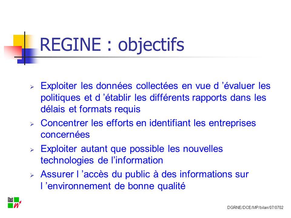 REGINE : objectifs Exploiter les données collectées en vue d évaluer les politiques et d établir les différents rapports dans les délais et formats re