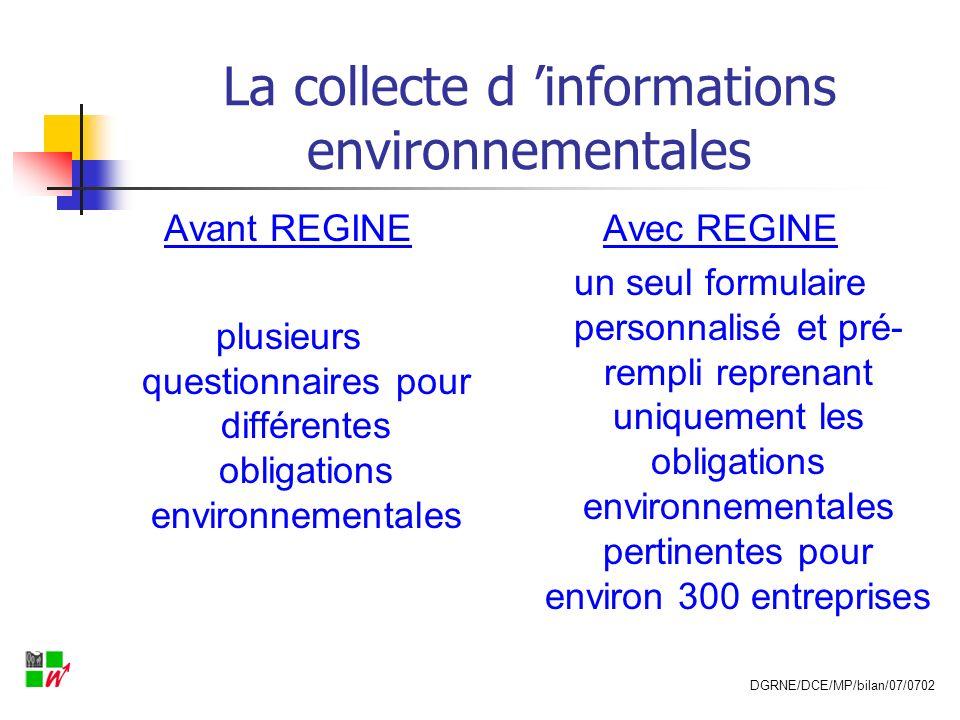 La collecte d informations environnementales Avant REGINE Collecte par plusieurs administrations et services différents, (questionnements redondants pour les entreprises, et imprécision des données collectées) Avec REGINE guichet unique : DCE de la DGRNE remplissage du formulaire en ligne via le site : http://bilan.environnement.wallonie.be DGRNE/DCE/MP/bilan/07/0702