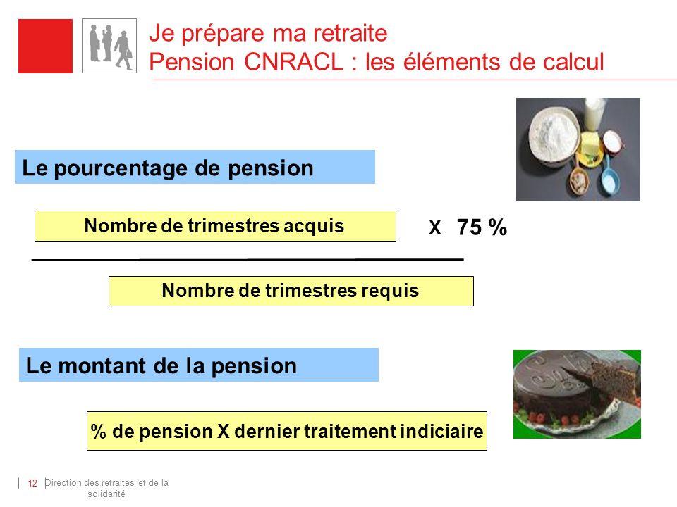 Direction des retraites et de la solidarité 12 Je prépare ma retraite Pension CNRACL : les éléments de calcul Nombre de trimestres acquis Nombre de tr