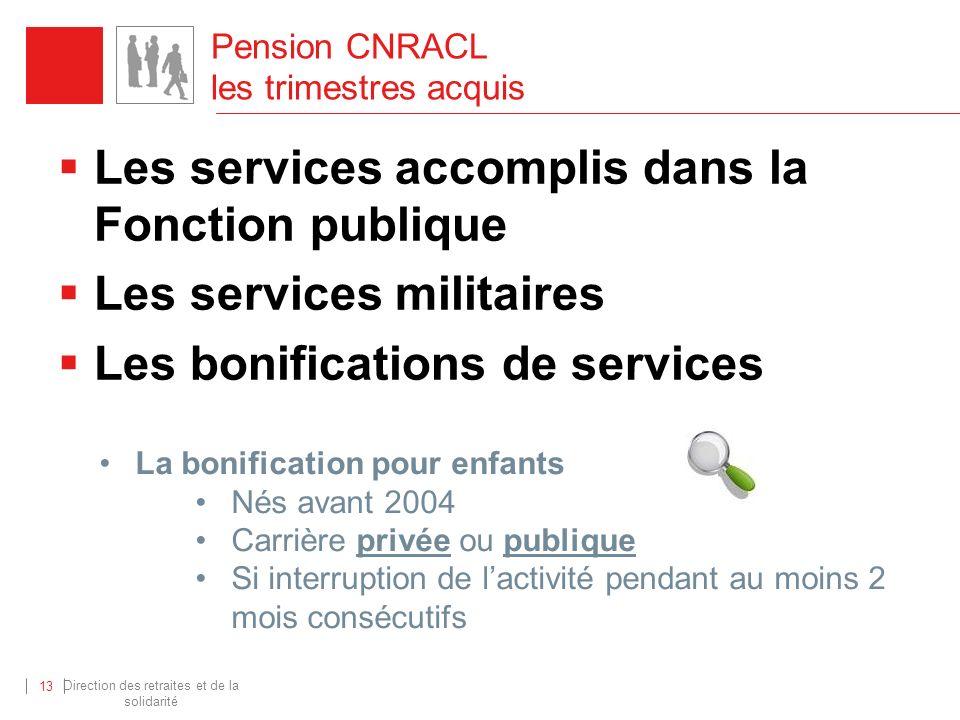 Direction des retraites et de la solidarité 13 Pension CNRACL les trimestres acquis Les services accomplis dans la Fonction publique Les services mili
