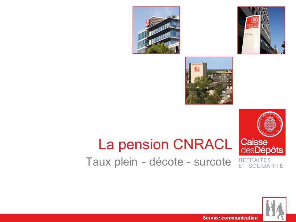 Service communication La pension CNRACL Taux plein - décote - surcote