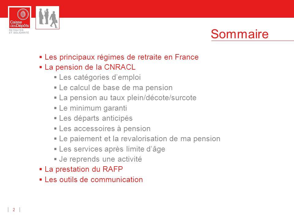 Sommaire 2 Les principaux régimes de retraite en France La pension de la CNRACL Les catégories demploi Le calcul de base de ma pension La pension au t