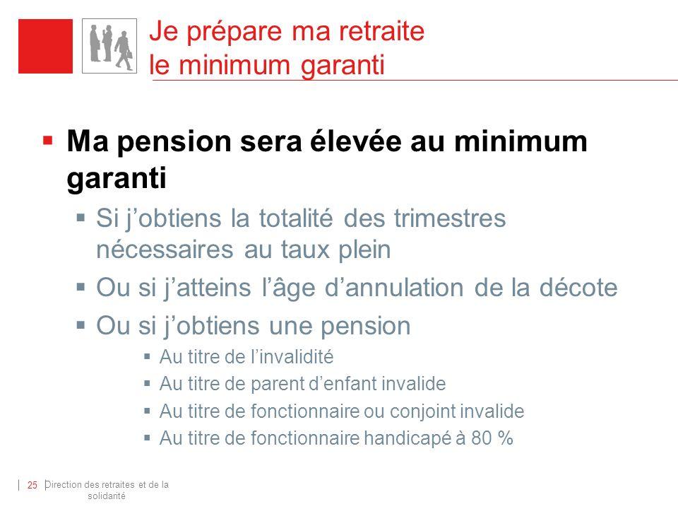Direction des retraites et de la solidarité 25 Ma pension sera élevée au minimum garanti Si jobtiens la totalité des trimestres nécessaires au taux pl