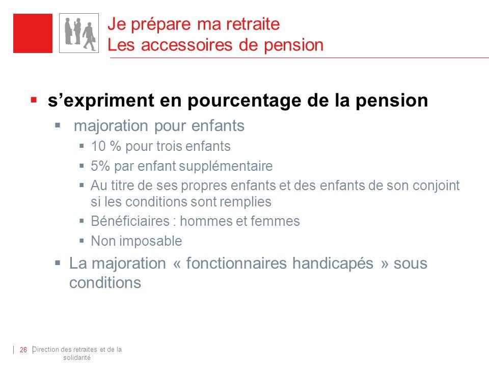 Direction des retraites et de la solidarité 28 Je prépare ma retraite Les accessoires de pension sexpriment en pourcentage de la pension majoration po