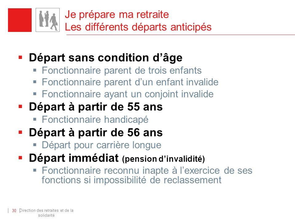 Direction des retraites et de la solidarité 30 Je prépare ma retraite Les différents départs anticipés Départ sans condition dâge Fonctionnaire parent