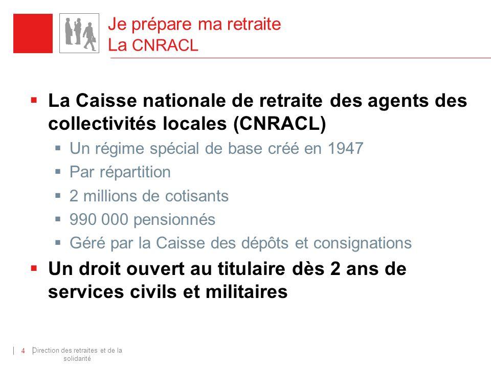 Direction des retraites et de la solidarité 4 Je prépare ma retraite La CNRACL La Caisse nationale de retraite des agents des collectivités locales (C