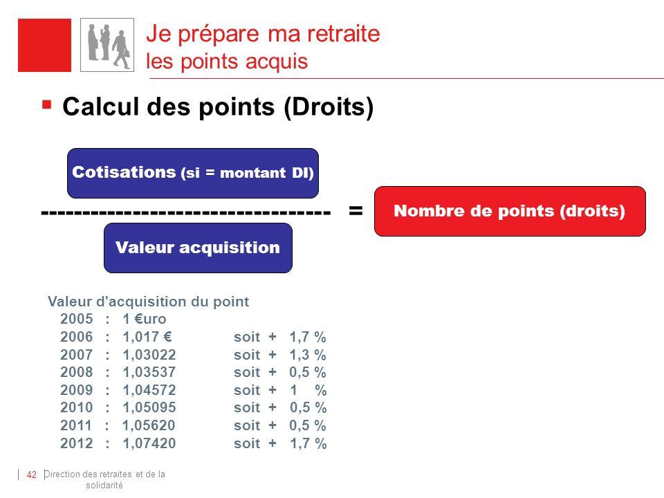 Direction des retraites et de la solidarité 42 Calcul des points (Droits) ---------------------------------- = Cotisations (si = montant DI) Valeur ac