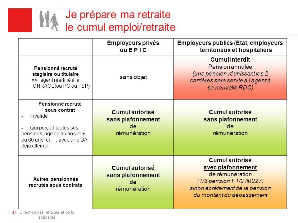 Direction des retraites et de la solidarité 47 Je prépare ma retraite le cumul emploi/retraite Employeurs privés ou E P I C Employeurs publics (Etat,