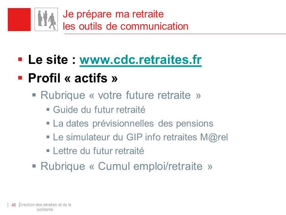 Direction des retraites et de la solidarité 48 Je prépare ma retraite les outils de communication Le site : www.cdc.retraites.frwww.cdc.retraites.fr P