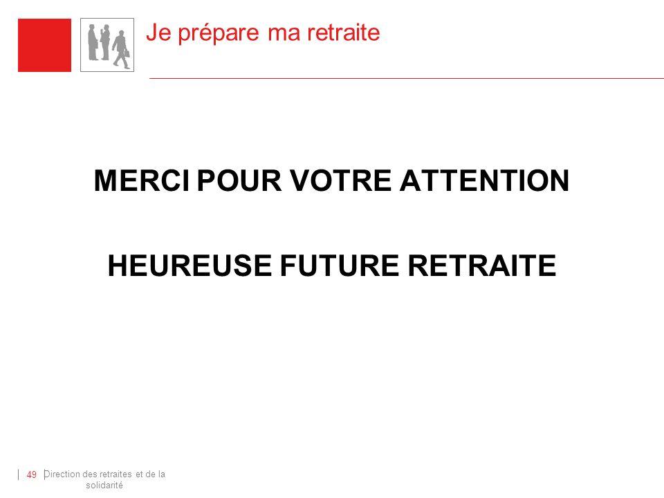 Direction des retraites et de la solidarité 49 Je prépare ma retraite MERCI POUR VOTRE ATTENTION HEUREUSE FUTURE RETRAITE