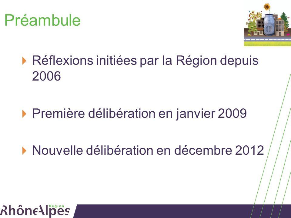 Préambule Réflexions initiées par la Région depuis 2006 Première délibération en janvier 2009 Nouvelle délibération en décembre 2012