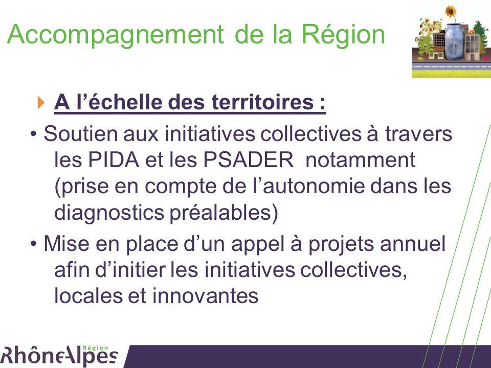 Accompagnement de la Région A léchelle des territoires : Soutien aux initiatives collectives à travers les PIDA et les PSADER notamment (prise en comp