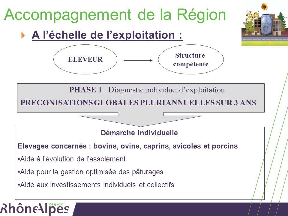 Accompagnement de la Région A léchelle de lexploitation : Structure compétente PHASE 1 : Diagnostic individuel dexploitation PRECONISATIONS GLOBALES P