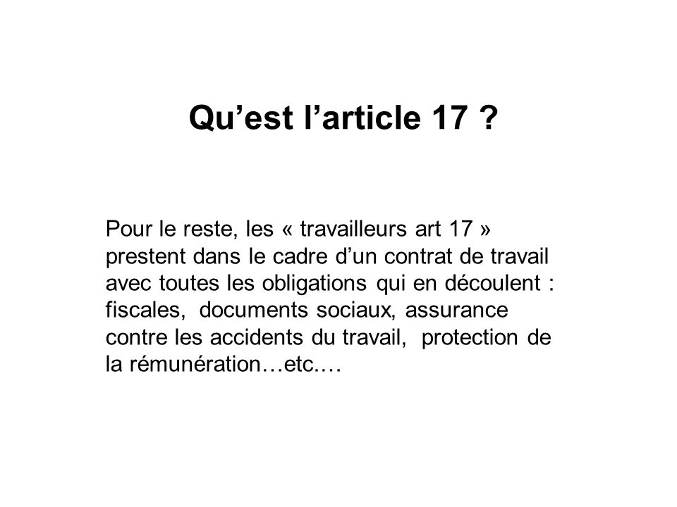 Quest larticle 17 .