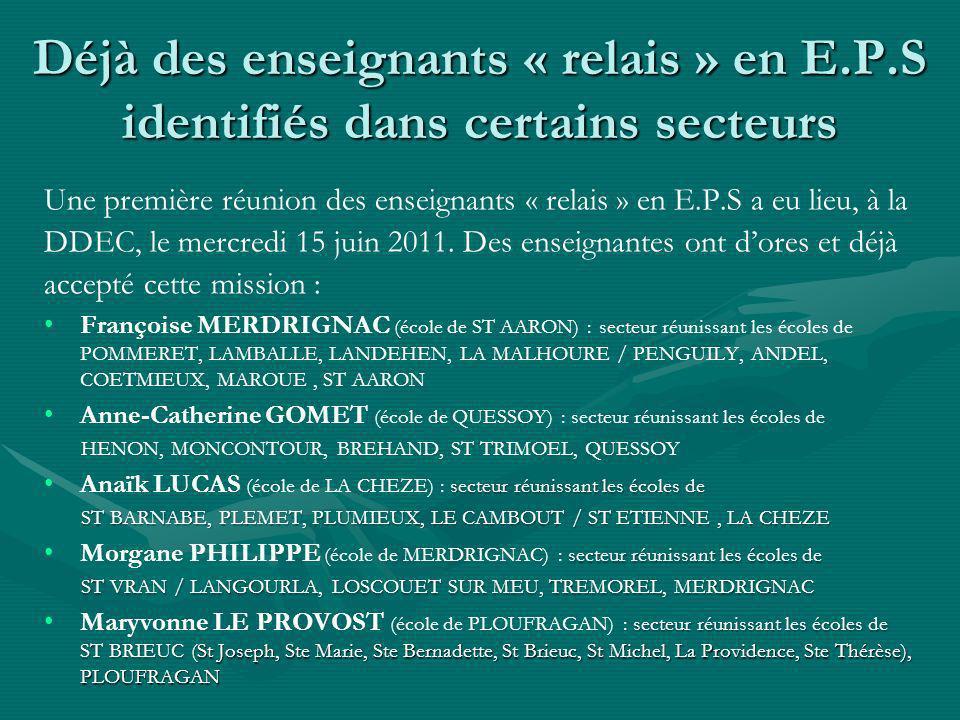 Déjà des enseignants « relais » en E.P.S identifiés dans certains secteurs Une première réunion des enseignants « relais » en E.P.S a eu lieu, à la DDEC, le mercredi 15 juin 2011.