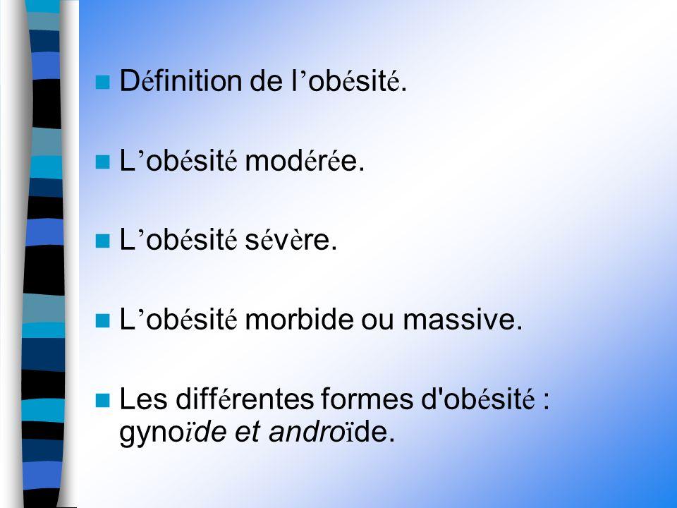 D é finition de l ob é sit é. L ob é sit é mod é r é e.