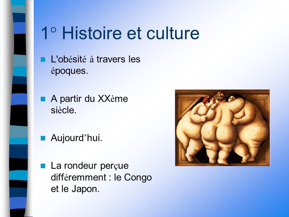 1° Histoire et culture L ob é sit é à travers les é poques.