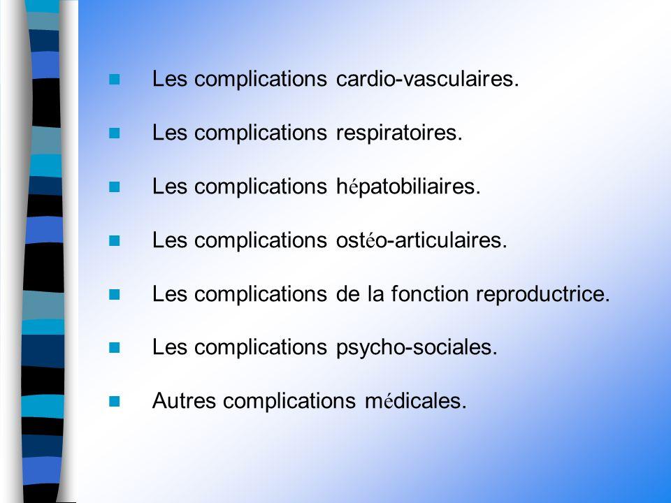 Les complications cardio-vasculaires. Les complications respiratoires.