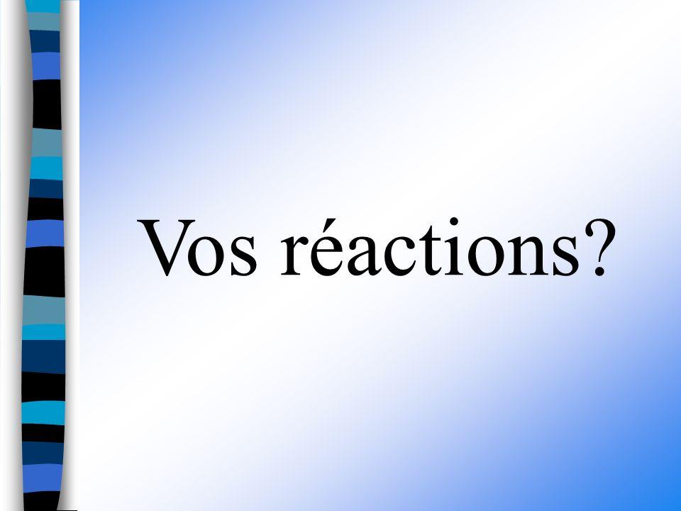 Vos réactions