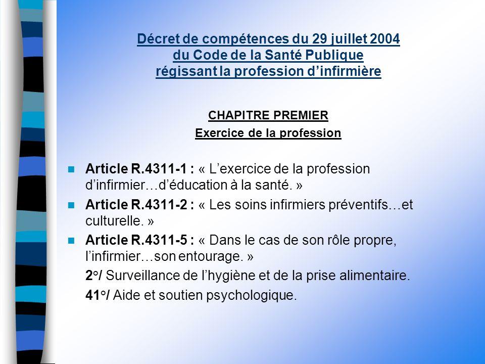 Décret de compétences du 29 juillet 2004 du Code de la Santé Publique régissant la profession dinfirmière CHAPITRE PREMIER Exercice de la profession Article R.4311-1 : « Lexercice de la profession dinfirmier…déducation à la santé.