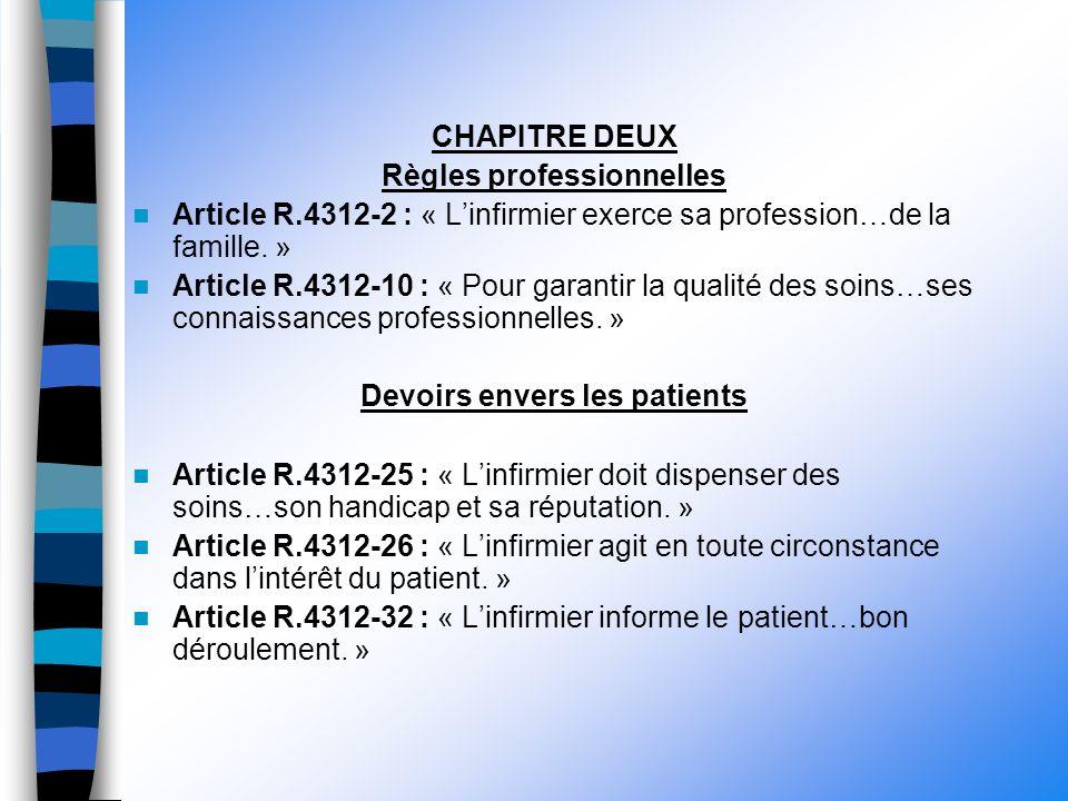 CHAPITRE DEUX Règles professionnelles Article R.4312-2 : « Linfirmier exerce sa profession…de la famille.