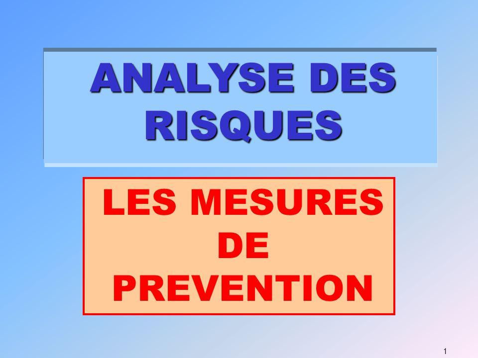 ANALYSE DES RISQUES 1 LES MESURES DE PREVENTION