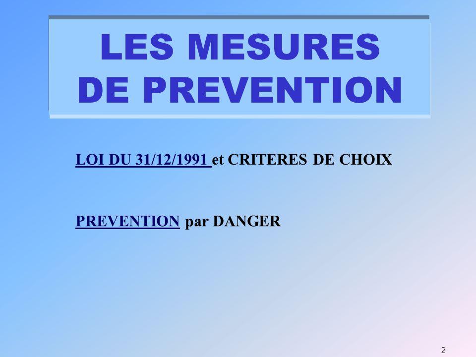 2 LOI DU 31/12/1991 LOI DU 31/12/1991 et CRITERES DE CHOIX PREVENTIONPREVENTION par DANGER