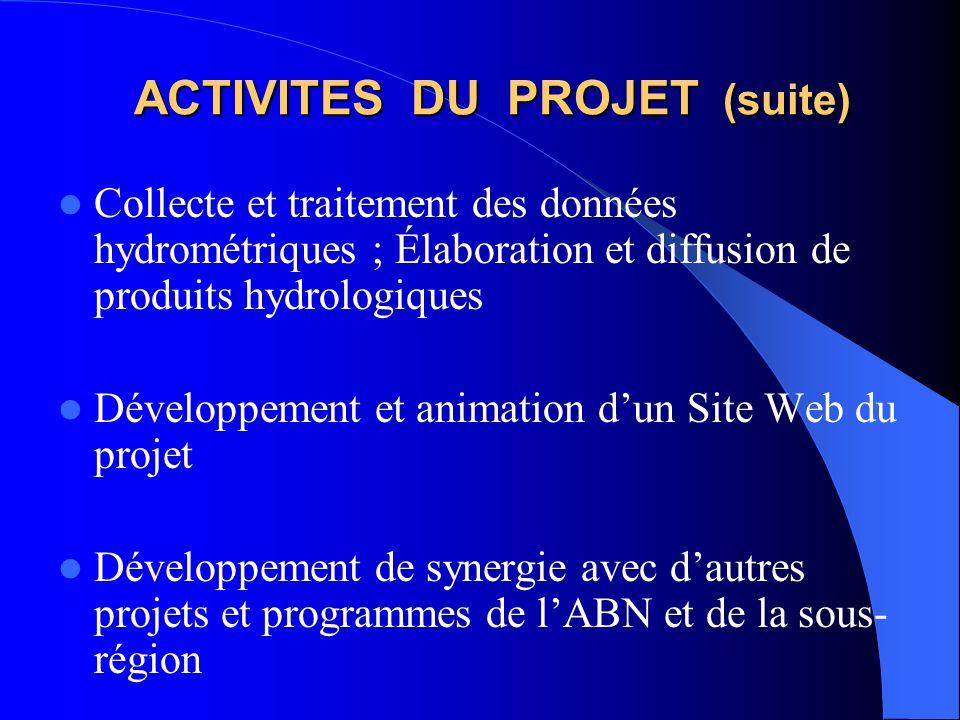 ACTIVITES DU PROJET (suite) Collecte et traitement des données hydrométriques ; Élaboration et diffusion de produits hydrologiques Développement et animation dun Site Web du projet Développement de synergie avec dautres projets et programmes de lABN et de la sous- région