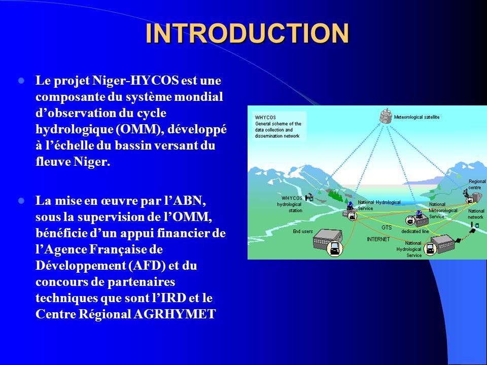 INTRODUCTION Le projet Niger-HYCOS est une composante du système mondial dobservation du cycle hydrologique (OMM), développé à léchelle du bassin versant du fleuve Niger.