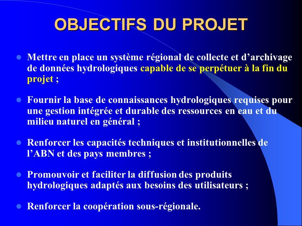OBJECTIFS DU PROJET Mettre en place un système régional de collecte et darchivage de données hydrologiques capable de se perpétuer à la fin du projet